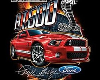 Carroll Shelby GT500 Red Mustang Licensed Mustang Mens T Shirt 17930Di Only 1 Left