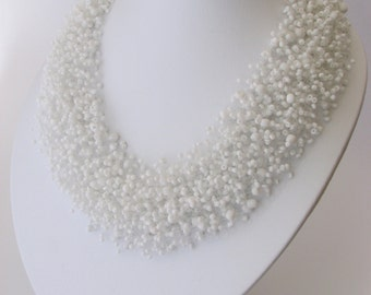 White Airy Necklace   Airy Necklace   Monofil Necklace   Bead crochet necklace   Bridesmaid Necklace