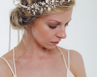 Bridal Headpiece, Bridal Crown, Bridal Halo, Silver, Gold, Freshwater Pearls, Rhinestones