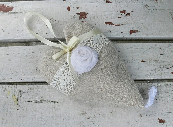 Fabric Heart Cream Decor Wedding Gift Heart Cottage Chic Hanging Heart