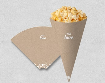 Printable party snack cone | kraft party popcorn cone treat cone | birthday bridal shower wedding party cone white flower | INSTANT DOWNLOAD