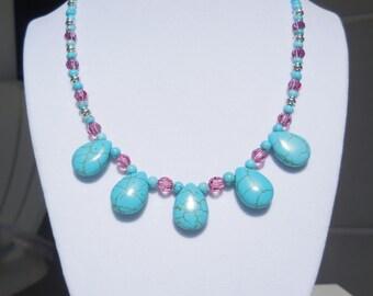 Turquoise-dyed howlite & Swarovski rose crystal necklace