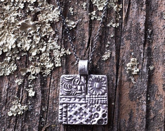 Fine Silver Metal Clay Mosaic Pendant - Multi Texture - NS106