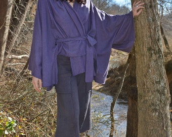 The Belted Wrap Kimono in hand dyed organic hemp jersey. Made to order.
