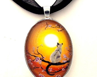 Siamese Cat Necklace Zen Tree Branch Cherry Blossoms Golden Glow Sakura Yellow Sunset Boho Art Pendant Bohemian Asian Handmade Jewelry