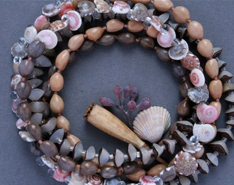 long beaded necklace with sea shells, seeds and nuts - bohemian jewelry - ethnic style