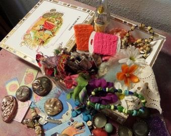 Great Ofrenda in a cigar box, Dia de los Muertos, destash treasures,found objects, skulls and faces, cigar box,  2