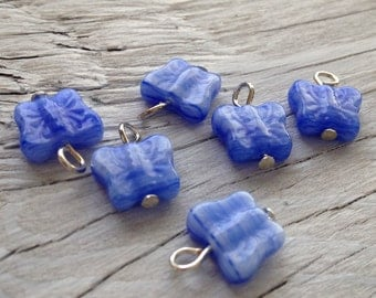 Butterfly charms - Glass butterfly charm blue hurricane set of 2