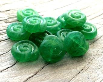 Czech glass beads -  nautilus shell beads green set of 10 10mm