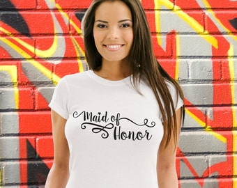Maid of Honor T-shirt Wedding Tee Bachelorette Tshirt Bridal Party Shirt Hen Party Top Gift For Her Engagement Stagette Destination Wedding