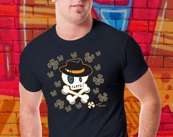 Skull and Crossbones T-shirt Fedora Tshirt Sinatra Tee Skull Shirt Cartoon Pirate Shirt Gift For Him Tee Shirt For Her Boyfriend Girlfriend