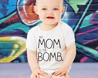 Cute My Mom is the Bomb Baby Bodysuit Family Gift For Mom Mother's Day Gift Mommy Toddler Youth Shower Baby Shower Gift Mom to Be Crawler