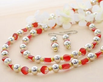 Beaded Necklace Set Bloodlines - Red Jewelry - Jewelry Set - Necklace Earrings Set - Red and Silver Long Necklace - Everyday Necklace - Gift