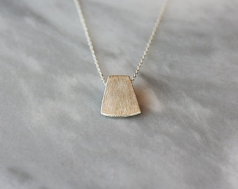 Silver Blade Necklace, Sterling Silver Layering Jewelry, Unique Silver Necklace, Brushed Finish, Sliding Design, Modern Style, Daily Chic