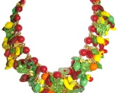 Heavily beaded Julia Bristow vintage style fruit and flower necklace