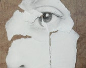 Not Broken - Free Shipping Original Mixed Media Surreal Photo Art Portrait Matted Torn Paper Face Eye Black & White Floral OOAK Wall Decor