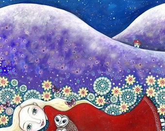Womens Wall Art Print Summer meadow folk art painting girls wall decor blonde girl Owl print gift for sister whimsical kids room picture