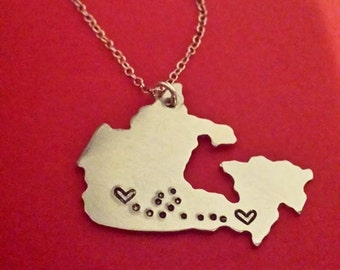 Long Distance Love Necklace Keychain Canada Lovers Relationship Friendship Miss Home Map Personalized Jewelry Anniversary Gift Wedding Gift