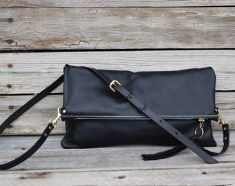 Black Leather Crossbody Purse - Fold Over Clutch - Leather Zip Pouch - Convertible 3 Way Purse - Black Leather Clutch