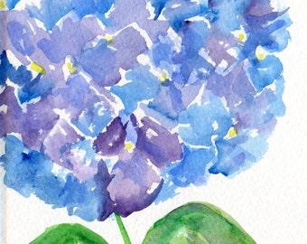 Hydrangea painting, Purple, Blue Hydrangeas Original Watercolor Painting, Flower Painting, Small Floral Wall Art  5 x 7 , hydrangea decor