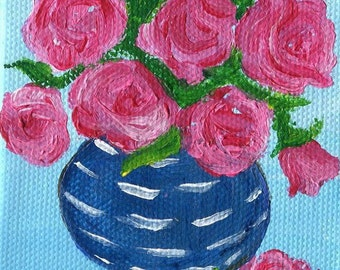 Pink roses mini painting, Blue and white vase original painting on canvas,  Easel, small floral art, acrylic painting, floral rose painting