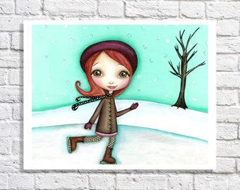 Ice Skating Art Print Figure Skater Gift Winter Scene Little Girl Room Picture Tween Wall Decor Cute Nursery Idea Skater Girl Illustration