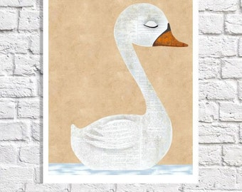 Swan Art Print Bird Illustration Wall Art Home Decor Animal Artwork Swan Picture Nature Themed Room Neutral Color Nursery Living Room Poster