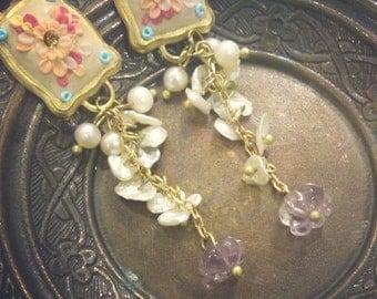 Pearl Earrings, Vintage Earrings, Clay Applicque, Floral, Colourful, Ethnic,  Vintage Brass, Golden, Filigree Earrings
