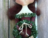 Primitive Stump Doll Folk Art Christmas Winter