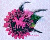 Hot Pink Unicorn Floral Hair Fascinator