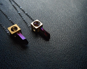 interstellar - geometric modern crystal edgy space purple crystal necklace - soft grunge minimal space jewelry