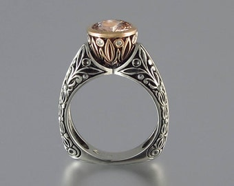 The CROWNED COUNTESS Morganite engagement ring 14K rose gold and silver (sizes 7 to 9.5)