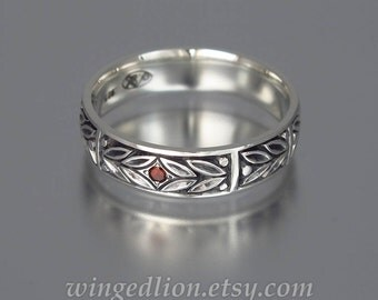 Mens Wedding Band EVERGREEN LAUREL silver with Garnet unisex band
