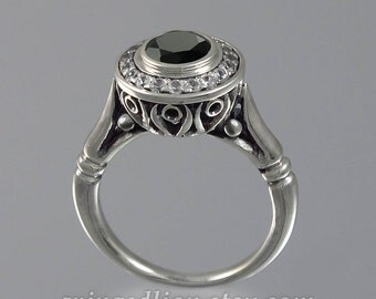 The SECRET DELIGHT 14k white gold 1.15ct Black Diamond engagement ring with diamond halo