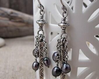 Silver Folk Art Earrings with Grey Pearls