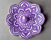 Purple  Ceramic Lotus Ring Holder Bowl with Gold Edge