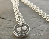 Heart Wax Seal Necklace, Two Hearts Together Forever, Eco Friendly, Double Heart Necklace, Sterling Silver, Valentines Day Gift