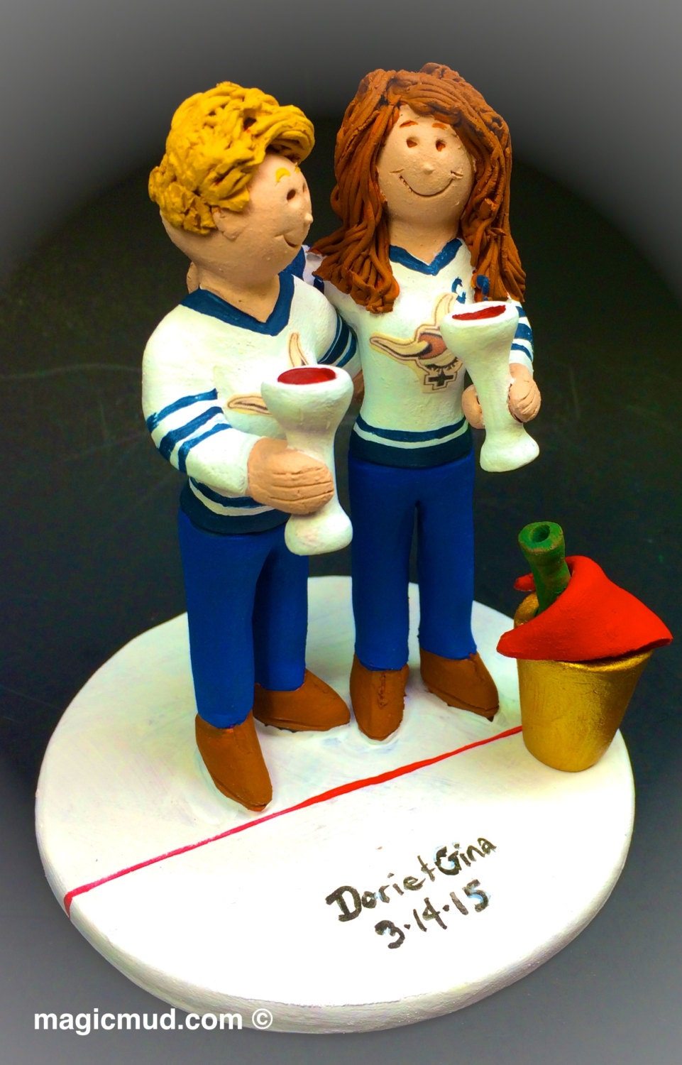 hockey player wedding cake topper hockey player s wedding cake toppers custom made 15259