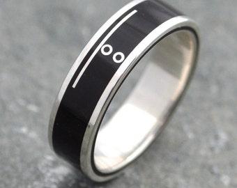 Mayan Numerology Lados Ring - custom number engagement, anniversary or wedding rings, unique wood wedding ring, custom symbol ring