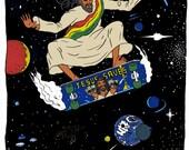 "Rasta Jesus Skateboarding in Space by Ray Young Chu 8.5 x 11"" Print"