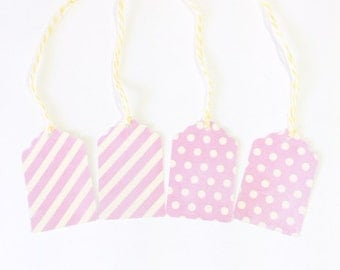 12 Hang Tags in Pink and Pale Yellow