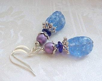 Sapphire Blue Earrings Vintage German Glass Bead Earrings Purple Blue Earrings Cottage Chic Shabby Vintage German Earrings Vintage Glass