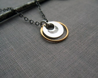 Circle Necklace, Small Disc Necklace, Minimalist Necklace, Layering Necklace, Everyday Necklace, Mixed Metal, Gold and Silver, Stamped Metal