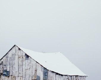 "Farm Decor, Barn Photography, Rural Photography, Farmhouse Decor, Country Landscape Print,  Rustic Home Decor, Snow, ""Winter Barn"""