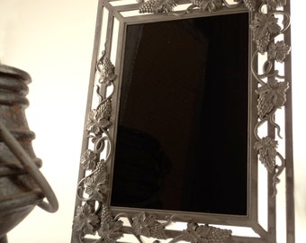 Vineyard Goddess Black Scrying Mirror with Pewter Grape Vines Frame