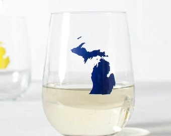 Michigan WINE GLASS screen printed stemless wine glasses - Blue Michigan