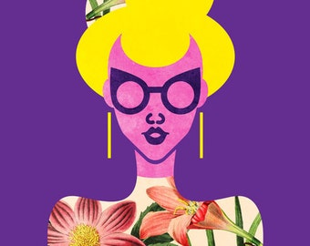 Cateye Glasses High Fashion Girl Print, (Purple and Pink Girl in Botanical Sweater Fashion Art) 5x7, 8x10, 11x14