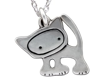 Tiny Punk Kitty Necklace - Sterling Silver Cat Pendant