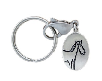 Sterling Silver Horse Keychain - Silver Pony Keyring - Horse's Ass - Funny Key Chain