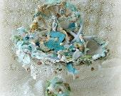 Mermaid and Seashell Centerpiece, Altered Art, Mermaid Centerpiece